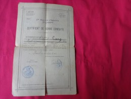 Caporal LANG -certificat De Bonne Conduite -5eme Regiment D´infanterie 7eme Compagnie - Documents