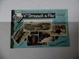 Lot De 4 Belles Cartes Publicitaires Vve Drouault Et Fils  Manufacture De Plumes Et Duvets - Le Mans