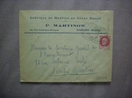 CHAUNY AISNE P. MARTINOW FABRIQUE DE MEUBLES EN CHÊNE MASSIF 63 RUE FERDINAND BUISSON ENVELOPPE DE 1942 - France