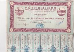 TITRE DE 5 ET 10 ACTIONS DE 100 FRS -PETROMINES -SOCIETE FRANCO AFRICAINE DE PETROLES ET MINES - Mines