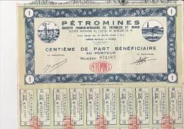 -PETROMINES -SOCIETE FRANCO AFRICAINE DE PETROLES ET MINES- 1 - 5-10 - ET 25 CENTIEMES DE PART BENEFICIAIRE - Mines