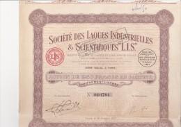 ACTION DE 250 FRS - SOCIETE DES LAQUES INDUSTRIELLES ET SCIENTIFIQUES -L.I.S. -1927 - Shareholdings