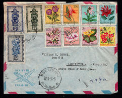 b0519 BELGIUM CONGO 1956, Cover Bukavu 1 [HK 10(-C) cancellation] to US, (flowers, African art))