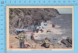 ( Canada Rugged Coastline Animated Painter ) Post Card Postcard 2 Scans - Cartes Postales