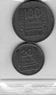 2 PIECES-FRANCE-ALGERIE-20 F DE 1956 + 100 FRS DE 1950-NICKEL-A VOIR-