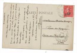 SUR CPA -ISTRES-AVITAION - COUR D'HONNEUR - TIMBRE SURCHARGE 50C SUR 80 SEMEUSE LIGNEE - OBLIT. 10 MARS 1927 ISTRES - 1903-60 Semeuse A Righe