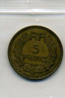 MONNAIE-FRANCE-5 FRANCS DE 1938-LAVRILLIER-BON ETAT-BIEN COTE-A VOIR-