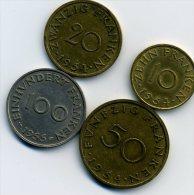 MONNAIE-SARRE-4 PIECES-10 ET 20 ET 50 DE 1954 + 100 DE 1955-NICKEL-A VOIR-