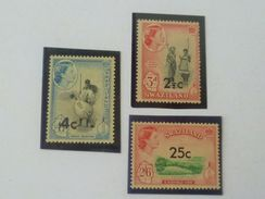 Lot Of 3 Pcs British Swaziland 1961 QEII Surcharges MNH  Stamps (S-138) - Swaziland (...-1967)