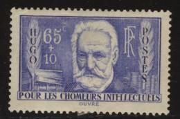France - Oblitéré - Charnière - N°383  Victor Hugo Au Profit Des Chomeurs Intellectuels - Neufs