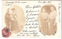 Carte Photo-1906-Jolies Demoiselles (femmes)-Vélo-Bicyclette-Humour-Démarage De La Course D'Amateur...-carte Nuage - Photographie