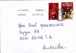 Auslands - Brief Von 55000 Haironville 37580A Mit 50 Cent Nana + 46 Cent Le Cirque 2015 - France
