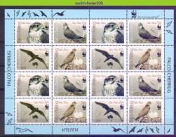 Nbx434MS16b WWF ROOFVOGELS VALK SAKER FALCON SAKERFALKE BIRDS VÖGEL OISEAUX AVES KYRGYZSTAN 2009 PF/MNH - W.W.F.