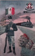Italie, R. Esercito Italiano, R. Finanza, Drapeau, Chemin De Fer Et Soldat Fusilier (50012) Pli D'angle - Patriotiques