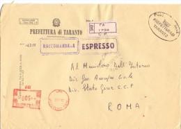 PREFETTURA DI TARANTO - 74100 TARANTO - ANNO 1981 - R/EXP/AMR - FTO 18x24 - TEMA TOPIC COMUNI D´ITALIA - Affrancature Meccaniche Rosse (EMA)