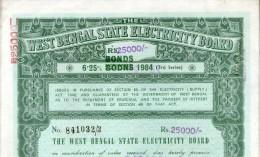India 1984 West Bengal State Electricity Bonds 3rd Series Corrected Rs. 25000 # 10345C Inde Indien - Electricité & Gaz