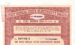 India 1986 West Bengal State Electricity Bonds 5th Series Rs. 2.5 M # 10345D Inde Indien - Electricité & Gaz