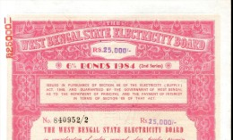 India 1984 West Bengal State Electricity Bonds 2nd Series Rs. 25000 # 10345E Inde Indien - Electricité & Gaz