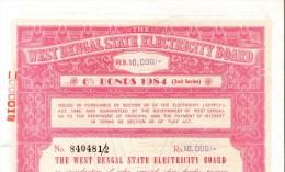 India 1984 West Bengal State Electricity Bonds 2nd Series Rs. 10000 # 10345F Inde Indien - Electricité & Gaz