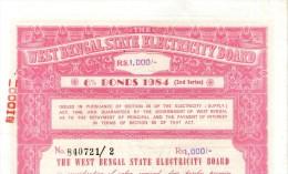 India 1984 West Bengal State Electricity Bonds 2nd Series Rs. 1000 # 10345H Inde Indien - Electricité & Gaz