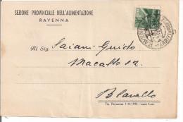 RAVENNA, SEZIONE PROVINCIALE DELL'ALIMENTAZIONE, 1946, INVITO CONFERIMENTO UVA AL CENTRO RACCOLTA, - Vino