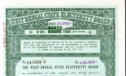 India 1984 West Bengal State Electricity Bonds 3rd Series Corrected Rs. 100000 # 10345J Inde Indien - Electricité & Gaz