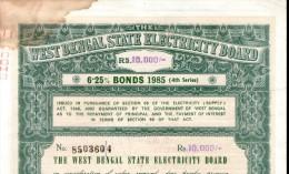 India 1985 West Bengal State Electricity Bonds 4th Series Rs. 10000 # 10345L Inde Indien - Electricité & Gaz