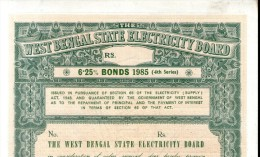 India 1985 West Bengal State Electricity Bonds 4th Series Blank Scarce # 10345M Inde Indien - Electricity & Gas