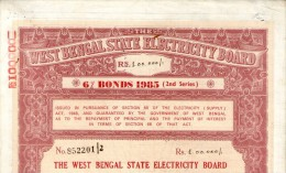 India 1985 West Bengal State Electricity Bonds 2nd Series Rs. 100000 # 10345O Inde Indien - Electricity & Gas