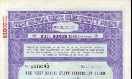 India 1985 West Bengal State Electricity Bonds 3rd Series Rs. 10000 # 10345Q Inde Indien - Elektriciteit En Gas