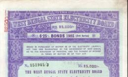 India 1985 West Bengal State Electricity Bonds 3rd Series Rs. 25000 # 10345R Inde Indien - Electricité & Gaz