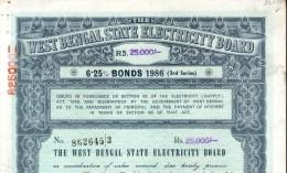 India 1986 West Bengal State Electricity Bonds 3rd Series Rs. 25000 # 10345T Inde Indien - Electricité & Gaz