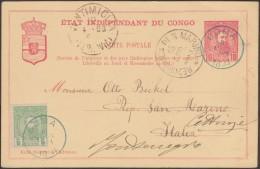 Congo Kin 1898. Carte postale, entier officiel, timbr� 10 c L�opold II + � 5 c. De Boma � Saint Marin