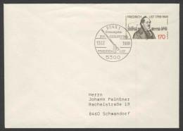 Deutschland Germany 1989 Letter / Brief + Mi 1429 ** Birth Bicent. Friedrich List (1789-1846) Economist + Train 19th C. - Treinen