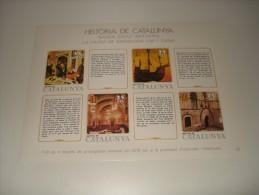 ESPAÑA - HISTORIA DE CATALUNYA - HOJA Nº 24 - BAIXA EDAT MITJANA (LA CIUTAT DE BARCELONA - CAP I CASAL) ** MNH - Hojas Conmemorativas