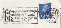 1972 COVER Slogan PRESERVE HISTORIC CHURCHES Illus CHURCH Religion  Stamps Gb - Christianity