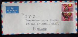 2.50r Olympic Weight Lifting (x2) Air Mail **1984 Scott #1064 Bangalore To Turku, Finland - India