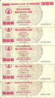 ZIMBABWE  500 MILLION  DOLLARS BEARER CHEQUE 2008 VF P 60 ( 5 Billets) - Zimbabwe