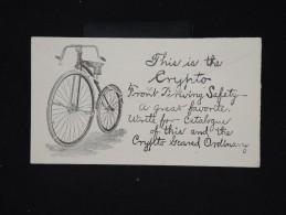 ETATS UNIS - Entier Postal De Cliveland Voyagé En 1893 Avec Pub Au Dos Vélo - à Voir - Lot P8605