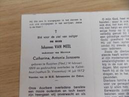 Doodsprentje Johannes Van Meel Rucphen (N) 14/2/1899 Kalmthout 14/7/1972 ( Catharina Antonia Janssens ) - Religione & Esoterismo