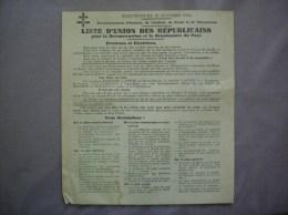 ELECTIONS DU 21 OCTOBRE 1945 ARRONDISSEMENTS D´AVESNES CAMBRAI DOUAI VALENCIENNES LISTE D´UNION DES REPUBLICAINS TRACT - Documents Historiques