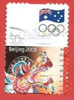 AUSTRALIA USATO - 2008 - Giochi Olimpici - Chinese Dragon - 0,50 $ - Michel AU 3025 AUTOADESIVO - 2010-... Elizabeth II