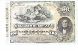 SPAIN 1884- REPLICA - REPRODUCCION  - JUAN ALVAREZ MENDIZABALT -BILL OF100 PTAS ISSUED JAN 1,1884 RE 107/1 PERFECT - [ 8] Vals En Specimen