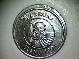 Islande 1 Krona 1991 - Iceland