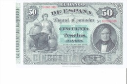 SPAIN 1884- REPLICA - REPRODUCCION  - JUAN ALVAREZ MENDIZABALT-MUJER CON AGUILA  -BILL OF50 PTAS ISSUED JAN 1,1884 RE 10 - [ 8] Vals En Specimen