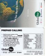 USA - Earth, Global One(Deutsche Telecom, France Telecom, Sprint) Prepaid Card 50 Units, Exp.date 05/01, Used - United States
