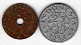 Indon�sie : Lot de 2 pi�ces rares : 1 cent 1938 & 25 sen 1952