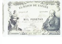 SPAIN 1886- REPLICA - REPRODUCCION  - FRANCISCO GOYA - ALEGORIAS  -BILL OF 1000 PTAS ISSUED OCT 1,1886 RE 97/1 PERFECT - [ 8] Ficticios & Especimenes