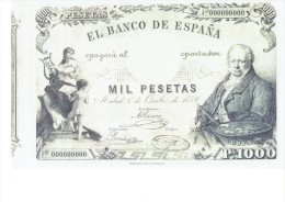 SPAIN 1886- REPLICA - REPRODUCCION  - FRANCISCO GOYA - ALEGORIAS  -BILL OF 1000 PTAS ISSUED OCT 1,1886 RE 97/1 PERFECT - [ 8] Fictifs & Specimens