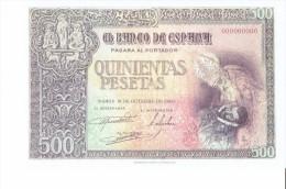 """SPAIN 1940- REPLICA - REPRODUCCION  - FRAGMENTO DE """"EL ENTIERRO DEL CONDE ORGAZ"""" (DE EL GRECO)  -BILL OF 500 PTAS ISSUED - [ 8] Vals En Specimen"""